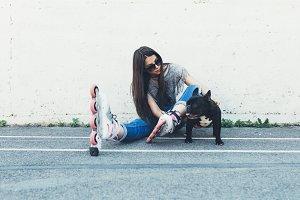 Girl and dog city lifestyle