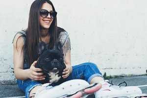Girl and dog city lifestyle