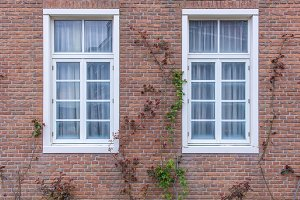 modren window on Red brick wall