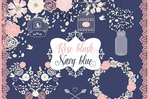 Vector navy blue and rose blush