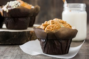 Muffins on a rustic wooden table