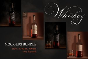 Whiskey Rum Brandy Mock-ups Bundle