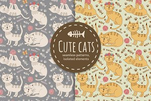 Cute cats seamless patterns
