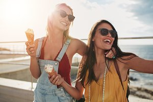 Two female friends enjoying