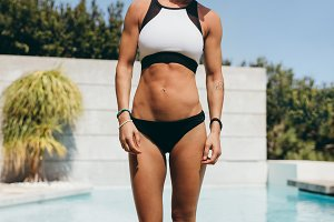 Fit female athlete after a swim