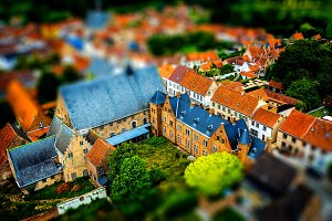 Tilt-shift photography landscape.