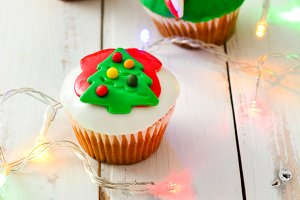 Christmas cupcakes and lights