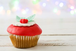 Christmas cupcake and lights