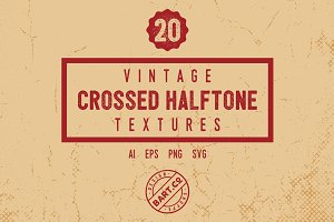 20 Vintage Crossed Halftone Textures