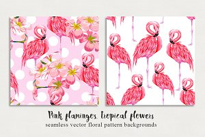 Pink flamingos vector patterns