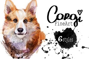 Set corgi dog fineart .6 styles