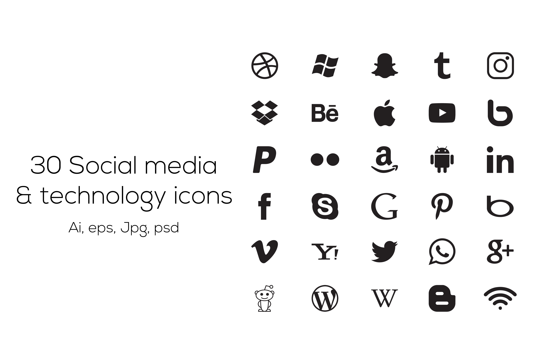 30 social media icons icons creative market
