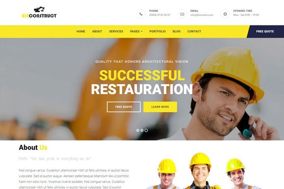 bizconstruct html bootstrap template bootstrap themes creative market