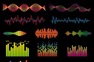 Music waves vector set
