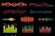 Music waves vector set