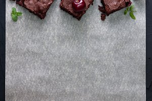 Brownies with cherries