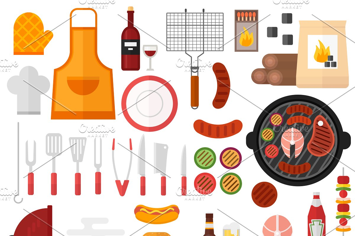 BBQ barbecue icons vector in Illustrations - product preview 8