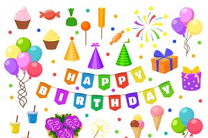 Happy birthday party symbols vector
