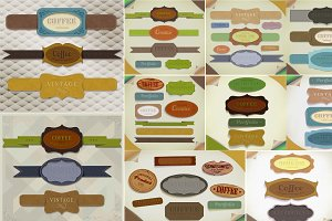 Vintage ribbons and labels set