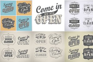 Open close Vintage sign set