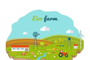 Eco Farm Conceptual Vector