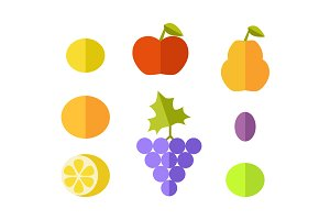cSet of Fruits Flat Design