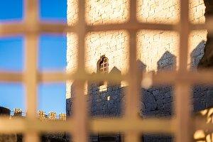 Window of Castle of Tiedra, Route of the castles, Valladolid, Castilla y Leon, Spain