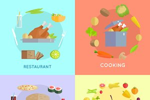 Set of Food Vector Concepts