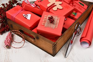 Wood Box Filled With Presents