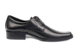 Left man's black shoe