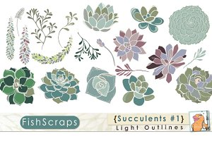 Succulents Clip Art - Light Outlines