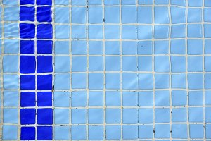 Tile stair in the blue water