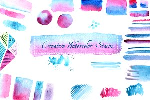 №155 Pink and blue watercolor stains
