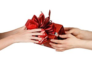 Giving gift from hand to hand