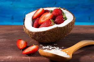 Strawberries in coconut shell