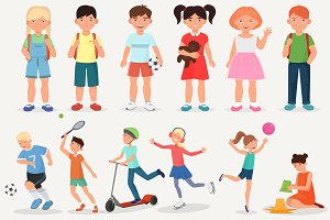 School children & kids activity set.