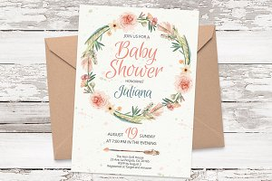Wreath watercolor invite template 19