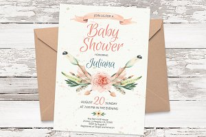 Arrows watercolor invite template 20