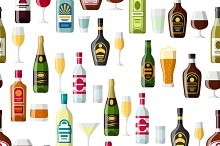 Alcohol drinks seamless patterns.