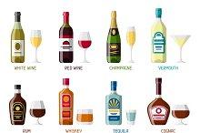 Alcohol drinks icon set.