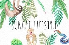 Jungle lifestyle.Watercolor set