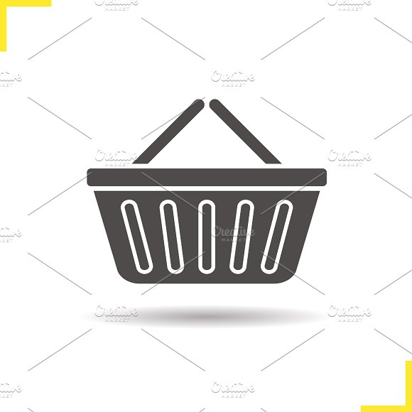 Supermarket basket icon. Vector - Icons