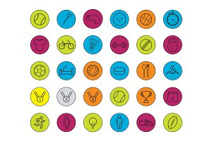 Active sport games. 30 icons. Vector