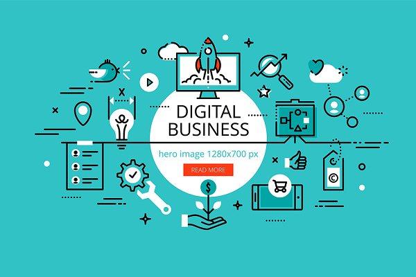 Digital business hero banners set