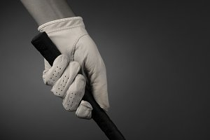 Closeup of a Golfers Gloved Hand on