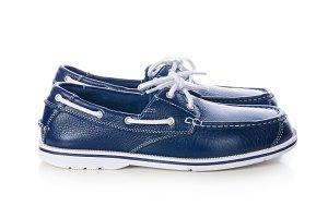 blue leather deck shoes