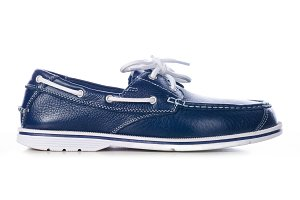 blue leather deck shoes