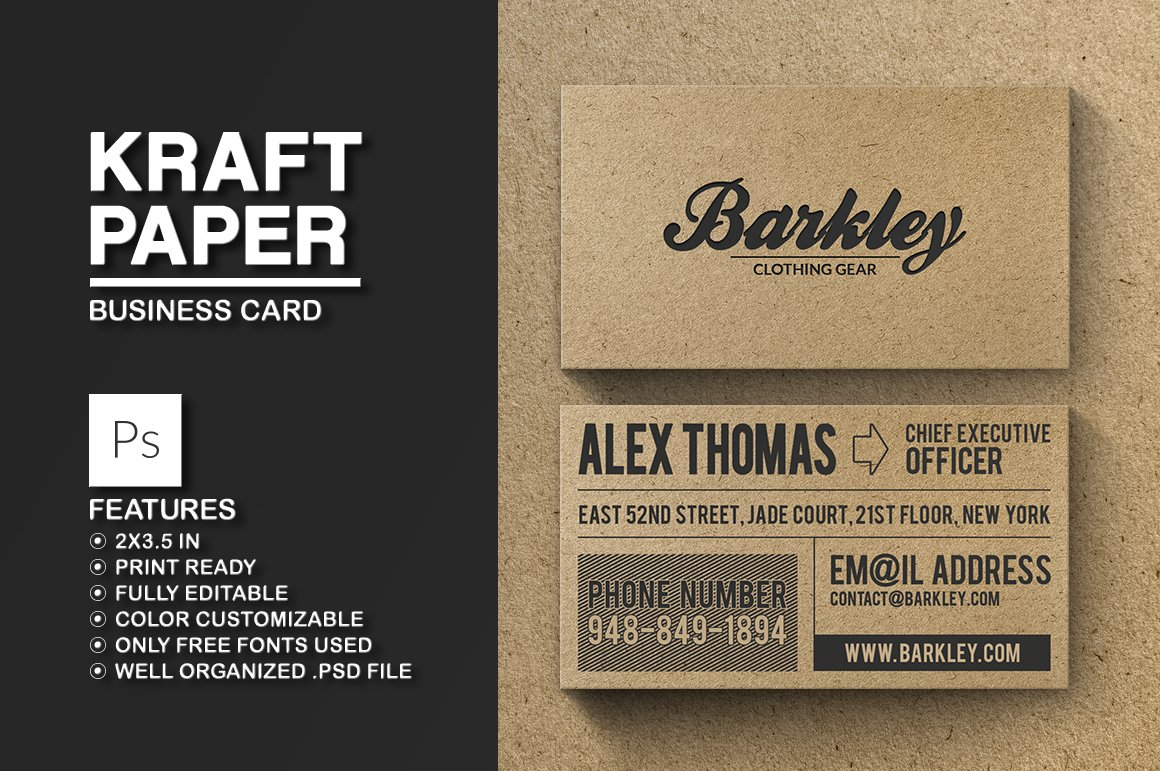 Kraft paper business card business card templates creative market reheart Gallery