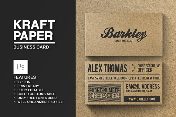 Kraft paper business card business card templates creative market kraft paper business card business cards reheart Gallery