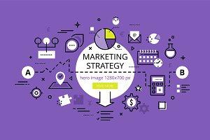 Marketing Strategy hero banners set